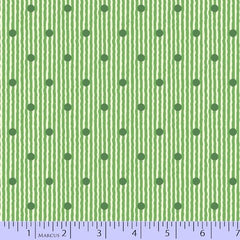 Green striped polka dot dotted cotton for Fleur + Dot handmade in the USA