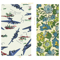 Cream, blue and red cotton with Green mini vintage floral