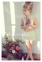Kids fashion two piece swim suit in floral and dot cotton by Fleur and Dot. Hand made in the USA.