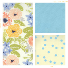 Cream, blue and pink polka dots and floral cotton for Fleur + Dot