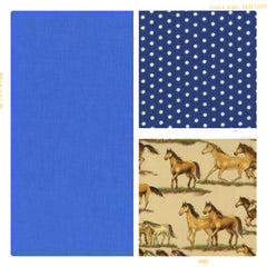 Marine blue, navy polka dots and tan horse print cotton
