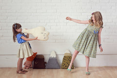 Girls elastic waist retro skirt. Made in the USA by Fleur and Dot.