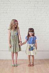Fleur and Dot girls blouse with floral collar handmade