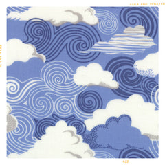White cloud and blue sky cotton print for Fleur and Dot