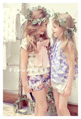 Fleur and Dot Dans Le Bleu A-line Girls Cotton Blouse