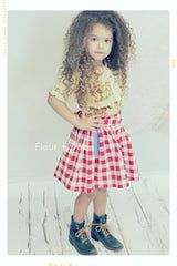 red and white check gingham skirt for girls. Twirl skirt and bow. Made in USA.