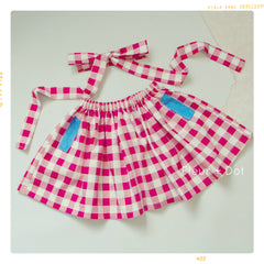 girls red and white gingham fall and winter skirt. Picnic apparel. Retro fit. Fleur + Dot.