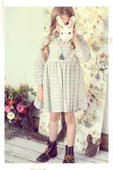 girls grey and white polka dot rain dress in organic cotton vintage inspired and handmade by fleur + dot