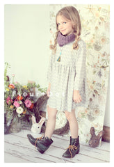 Grey rain drop girls dress by Fleur + Dot