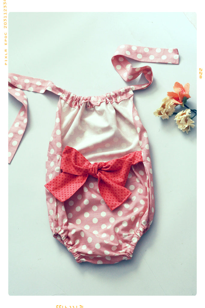 Girls bow romper with pink polka dots and strips. Halter style. Vintage and modern by Fleur and Dot. Hand made in the USA.