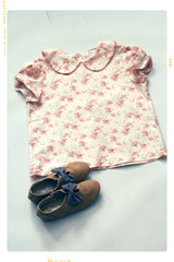 Tea Party Blouse in pink bird and floral print cotton top