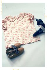 peter pan collar blouse by fleur and dot in pink cotton with birds and flowers