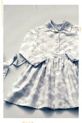 grey cloud print cotton girls dress with collar and long sleeves.