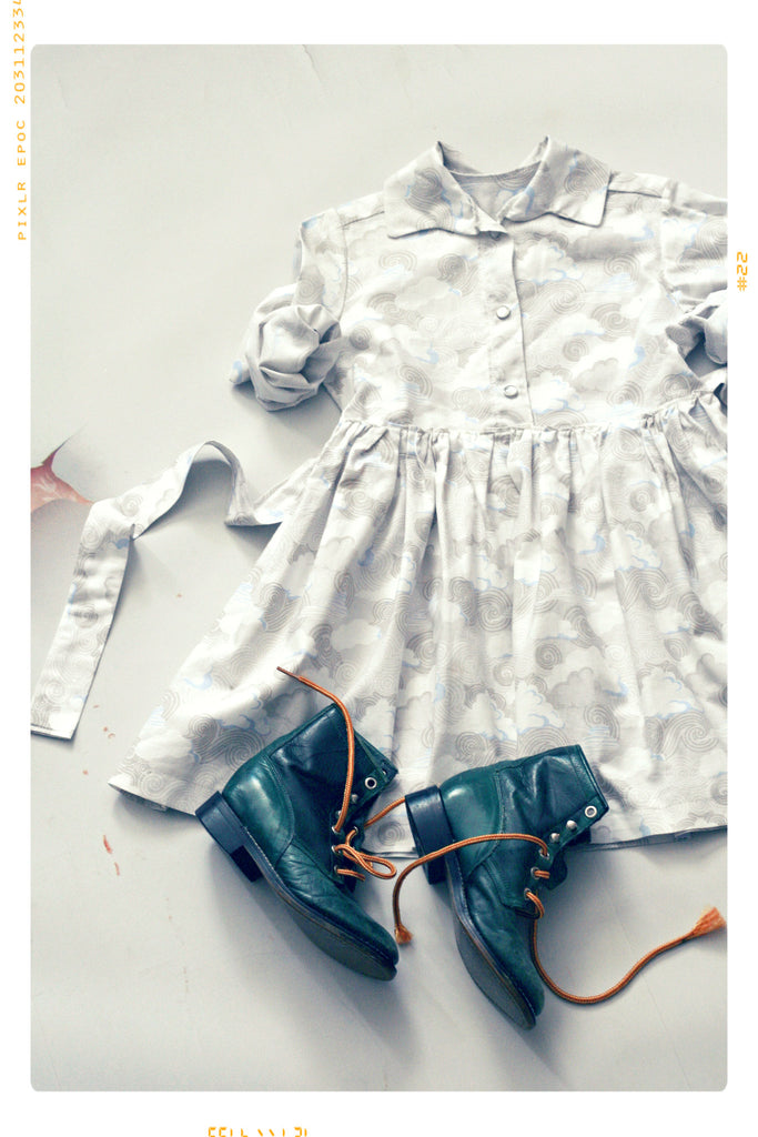 Grey cloud girls dress. Shirtdress by Fleur + Dot. Collared. Vintage inspired