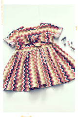 Southwestern stripe girls cotton dress with boy in desert colors