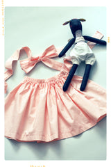 viva dottie pin dot pink cotton girls skirt and belt sash for fleur + dot. Pink spring and summer skirt. Made in the USA.