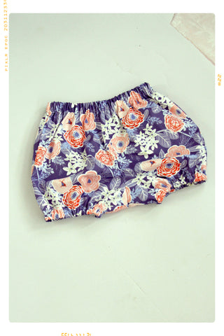 FLORAL BUNCH | Girls' Cotton Bloomers | Bubble Shorts in Blue and Pink