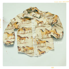 Tan horse cotton shirt in 18-24 months, 2T, 3T, 4T, 5, 6, 7, 8