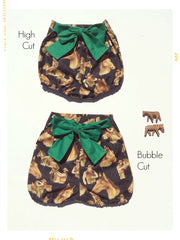 High waist shorts for girls in horse cotton print with vintage bow. Retro fabric. Handmade. Modern style kids fashion.