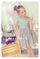 Pink grey and gold party dress for girls in cotton print. Vintage inspired with bow.