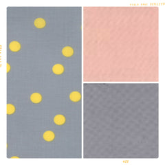 Gold polka dot cotton on grey with pink for fleur and dot
