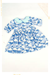 Blue cloud print cotton dress with peter pan collar for vintage girls