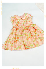 pink floral girls peter pan collar vintage style dress