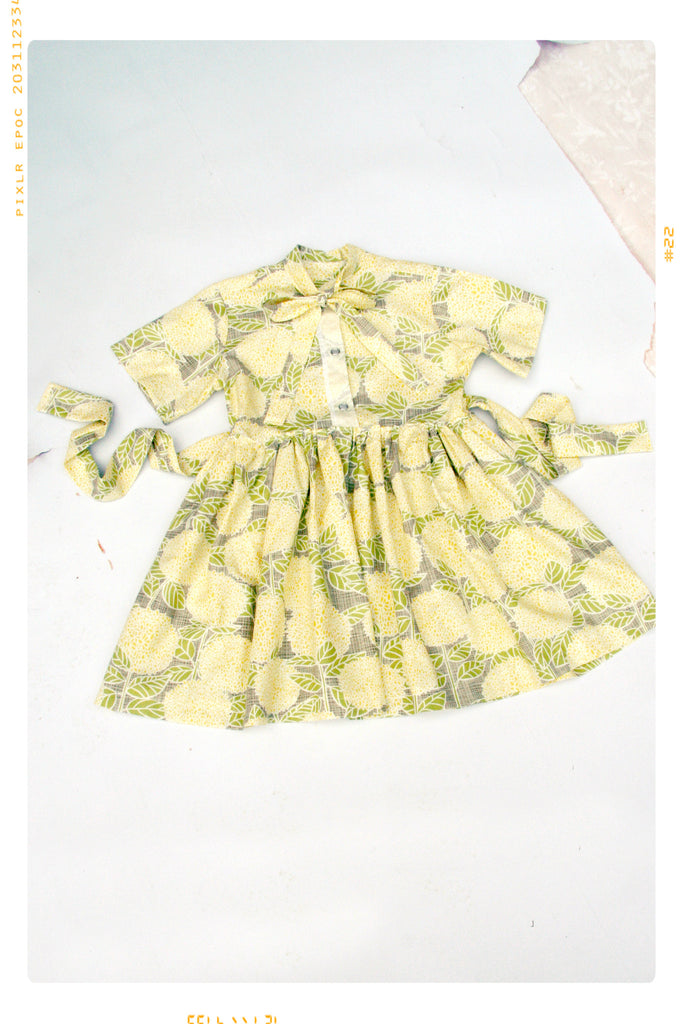 lemonade stand floral cotton girls shirt dress button up bow dress by fleur + dot