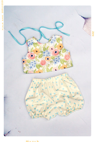 MAY FLOWERS | Girls' Cotton Romper | Two-Piece Set in Cream, Blue, Pink