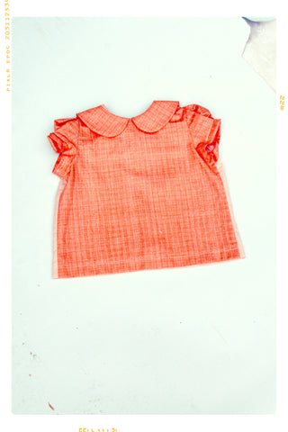 SUMMER BLUSH | Girls' Cotton Color Block Peter Pan Collar Top