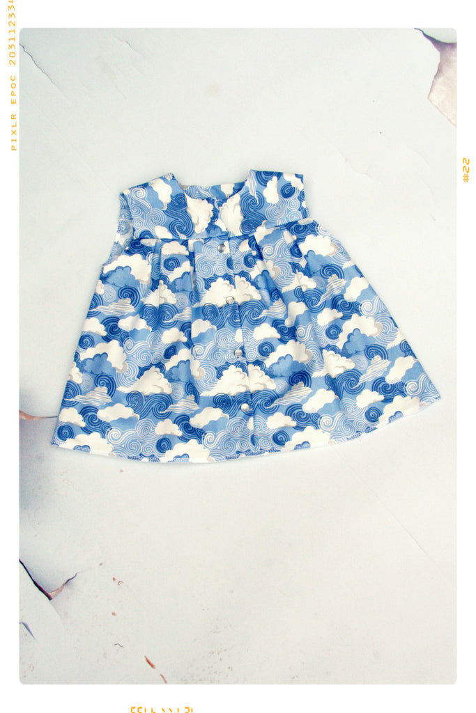 Blue Cloud and Sky Cotton Print Swing Sleeveless Blouse by Fleur + Dot