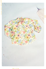 button up girls shirt in cream and pink floral with bow