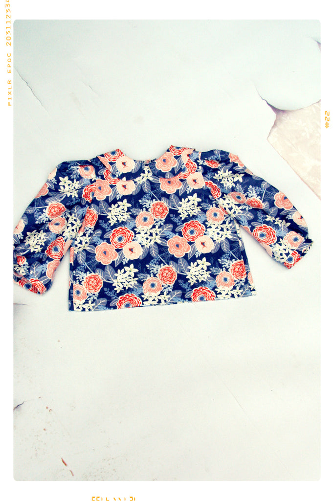 Pink and blue floral peter pan collar cotton blouse for Fleur + Dot