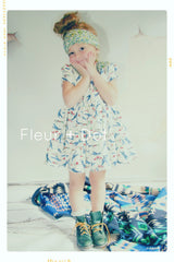 Fleur + Dot girls vintage inspired peter pan collar dress in airplane and floral cottons