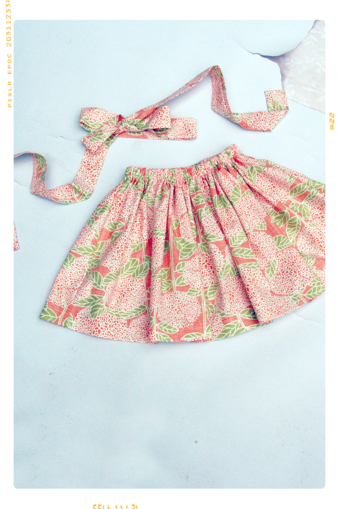 Girls floral cotton skirt with bow. Vintage inspired and handmade by Fleur + Dot.