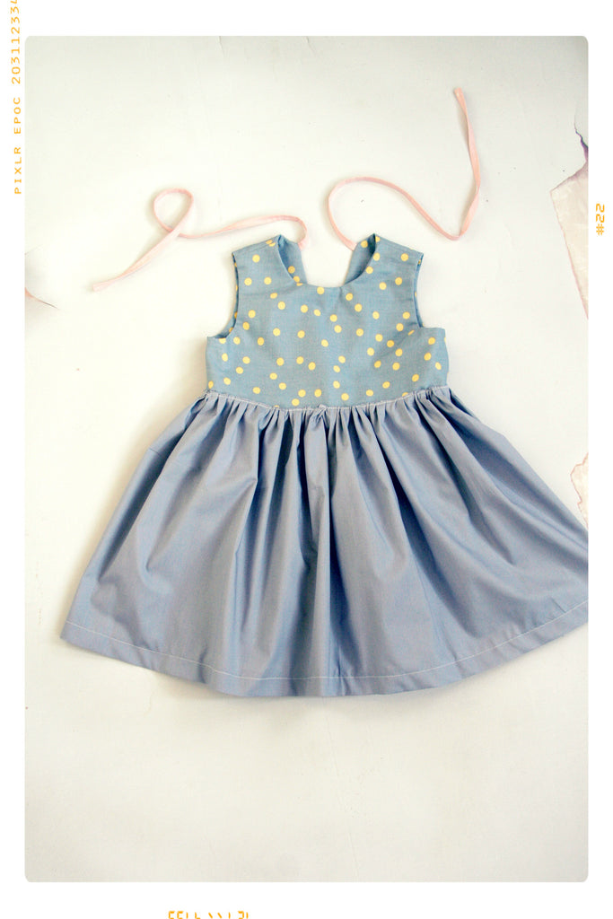 gold and grey polka dot party dress for girls in cotton print with pink bow