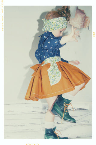 GRETEL'S GARDEN | Girls' Cotton Twirl Skirt with Pockets and Bow