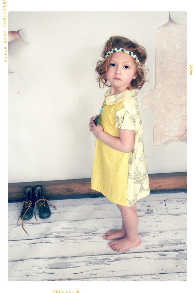 sun yellow floral peter pan collar color block girls shift dress