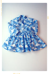 girls vintage inspired handmade cotton dress in cloud print with mandarin collar