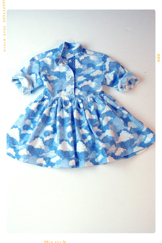 blue cloud shirtdress with polka dots by Fleur + Dot