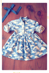 girls dress shirt dress vintage style in cloud cotton with dots by fleur and dot