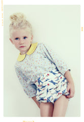 Vintage inspired kids apparel by Fleur and Dot. Yellow, blue and red retro plane print. Made in the USA