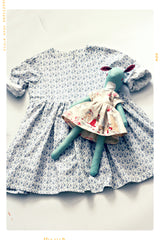 Handmade girls dress and waldorf doll in grey organic cotton print