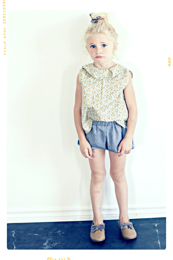 girls vintage modern cotton sleeveless collared tank shirt