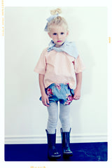 pink polka dotted girls blouse cotton top by Fleur + Dot