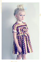 Fleur + Dot oversized bow girls cotton dress in zig zag stripe southwestern print
