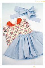 Wild flower floral cotton shirt for girls. Spring summer top. Made in the USA. Fleur and Dot.