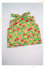 Vintage inspired girls bow floral blouse in pink and green cotton. Made in the USA