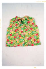 Floral Pop Blouse: Sleeveless cotton floral shirt with bow by Fleur + Dot. Vintage and handmade slow fashion. Made in the USA. Pink, green and yellow flowers.