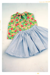 Neon color floral blouse shirt for girls by Fleur + Dot